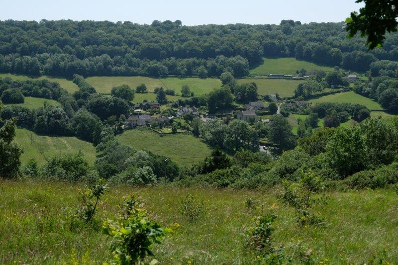 With views down to the village