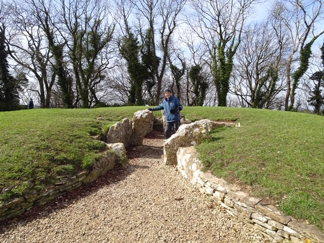 Pete checks on Nympsfield Long Barrow