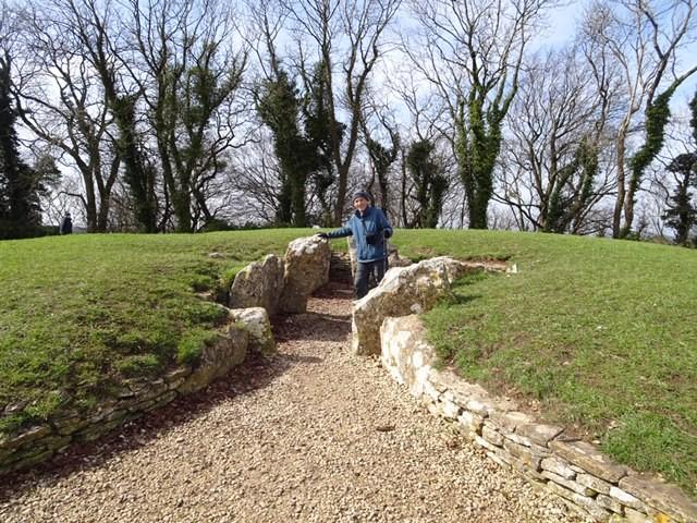 Pete checks on Nympsfield Long Barrow