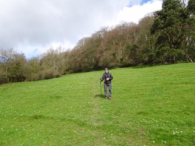 Pete climbing uphill from Uley to Uley Bury