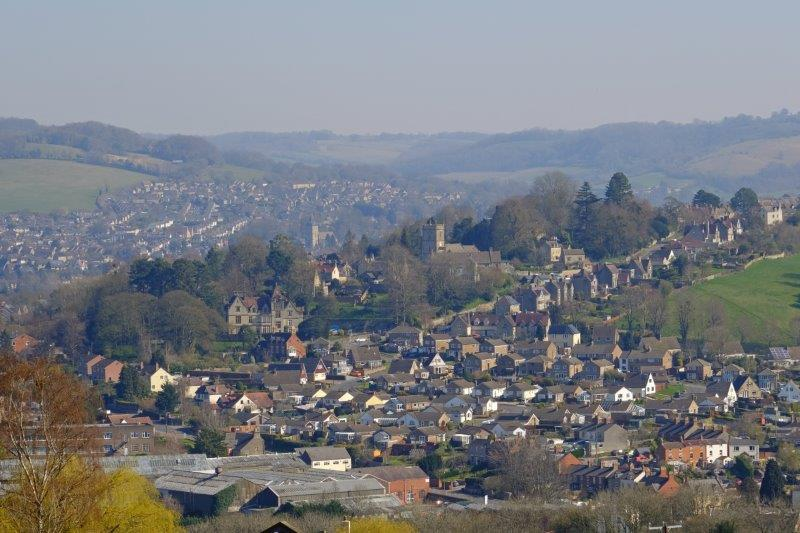 View back to Rodborough and Stroud while heading uphill