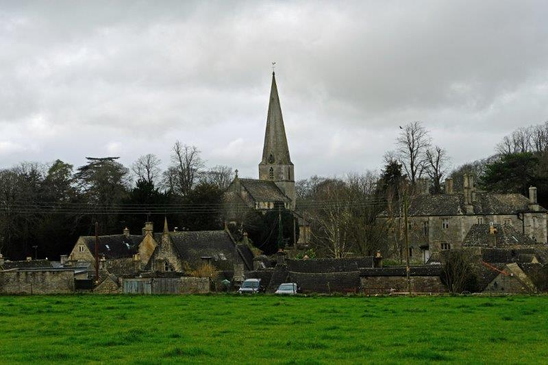 Leaving the village we can see the church across the field