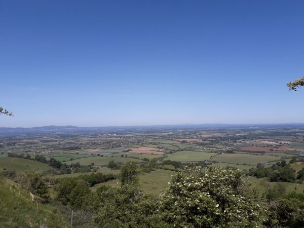 A fine view with the Malverns to the left.  This was taken near the  summit of the hill.