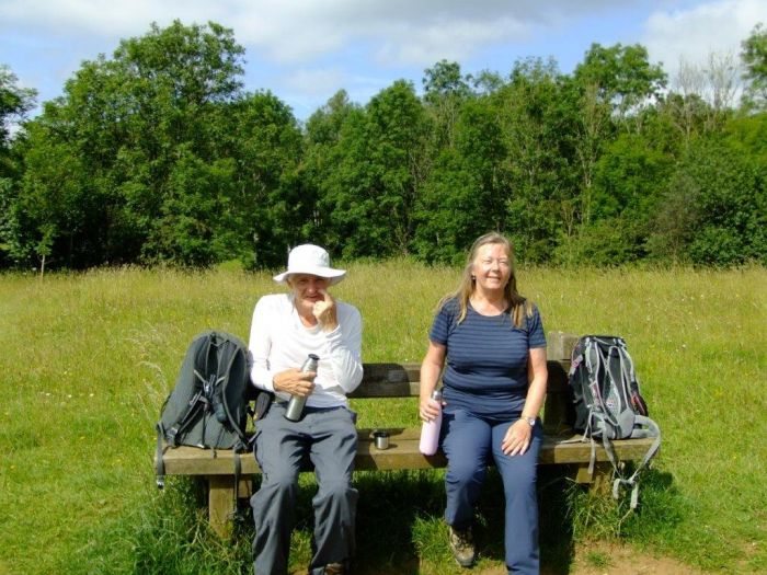 Lawrence and Olivia enjoy a sunny coffee break on Rudge hill